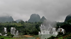 The scene of famous Detian Waterfall, Guangxi, China Stock Footage