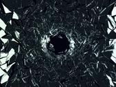 Stock Illustration of shattered black glass: sharp pieces and hole