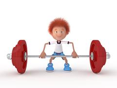 The 3d little boy with a bar. Stock Illustration