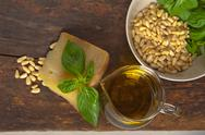Stock Photo of italian basil pesto ingredients