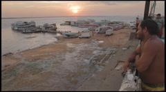 Manaus-Dock-Port-Fisherman-Import-Amazon-People-1 Stock Footage