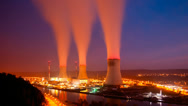 Stock Video Footage of Nuclear Power Station At Night Long Exposure Time Lapse