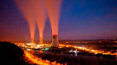 Nuclear Power Station At Night Long Exposure Time Lapse Stock Footage