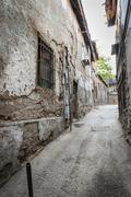 Old narrow streets with ancient houses, ankara, turkey. Stock Photos