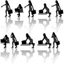 Stock Illustration of Business Woman Silhouettes