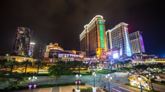 Time lapse of the stunning Macau Cotai Strip at night Stock Footage