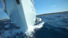 View from front of moving sailing boat on Adriatic sea in Croatia Stock Footage