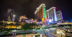 4K time lapse of the stunning Macau Cotai Strip at night Stock Footage