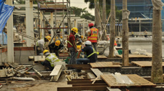 Singapore_Time Lapse-singapore workers assemble decking Stock Footage
