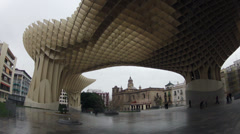 Seville city Metropol parasol building time lapse Stock Footage