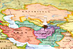 Map of afghanistan with a white pushpin stuck Stock Photos