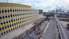 Miami Herald building destruction aerial footage Stock Footage