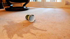Tea spill on carpet Stock Footage