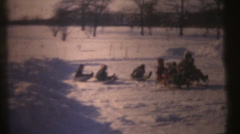 1950's & 60's  vintage, tractor pull in snow Stock Footage
