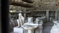 Bodies and household objects mummified Pompeii Stock Footage