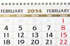 Calendar page on february 2014. Stock Photos