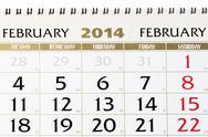 Stock Photo of calendar page on february 2014.