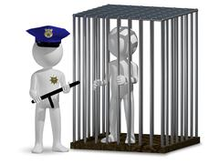 cop and prisoner - stock illustration
