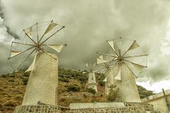 Crete winmils Stock Photos