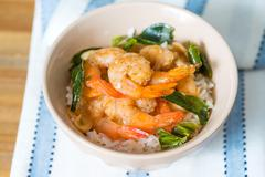 delicious asian fried shrimp and rice - stock photo
