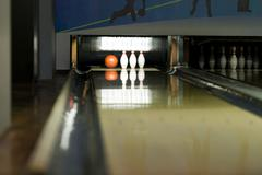 bowling balls and pins - stock photo