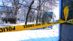 Police Tape in front of Fallen Trees in Winter Ice Storm Stock Footage