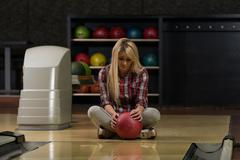 Bowling problem at the bowling alley Stock Photos