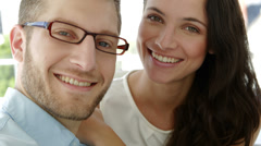 Portrait of attractive coworkers smiling at camera Stock Footage