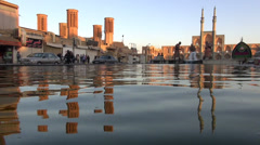 Central Square in Yazd, reflection in water pool Stock Footage