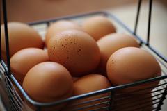 Basket of fresh brown eggs Stock Photos