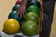 Man holding a bowling ball Stock Photos