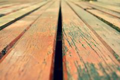 wood slat flooring - stock photo