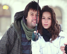 Valentines young adult man vanishing into thin air from couple. Stock Footage