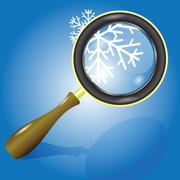 snow flake and magnifying glass - stock illustration