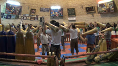 Iran, exercise, fitness, body building, house of strength, zurkhaneh - stock footage