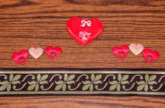 Stock Photo of heart on wood in the background. happy valentines day