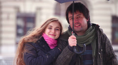 Valentines young adult woman vanishes into thin air from couple. Stock Footage