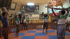 Traditional gymnasium workout in Iran, body building in the Middle East Stock Footage