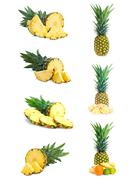 set of fresh pineapple fruits with cut isolated on white. - stock illustration