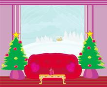 Fashionable interior of living room with christmas tree Stock Illustration