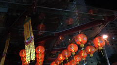 Red Chinese lanterns hanging in the streets Chinatown Singapore (RED LANTERN--2) Stock Footage
