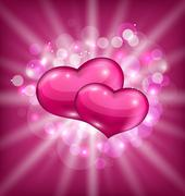 valentine's shimmering background with beautiful hearts - stock illustration