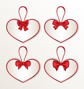 Set elegance cards heart shaped with silk bows for valentine day Stock Illustration