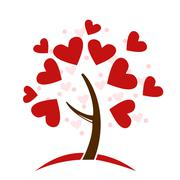 Stylized love tree made of hearts Stock Illustration