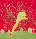 Stock Illustration of zombie hand coming out of his grave