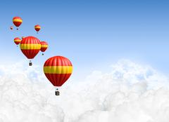 hot air balloons above the clouds - stock illustration