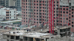 Works of concreting levels of buildings Stock Footage