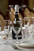 Crystal table setting at a restaurant Stock Photos