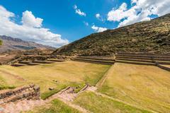 Tipon ruins peruvian andes  cuzco peru Stock Photos