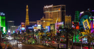 Stock Video Footage of Las Vegas 4K time lapse of Paris and Planet Hollywood casinos